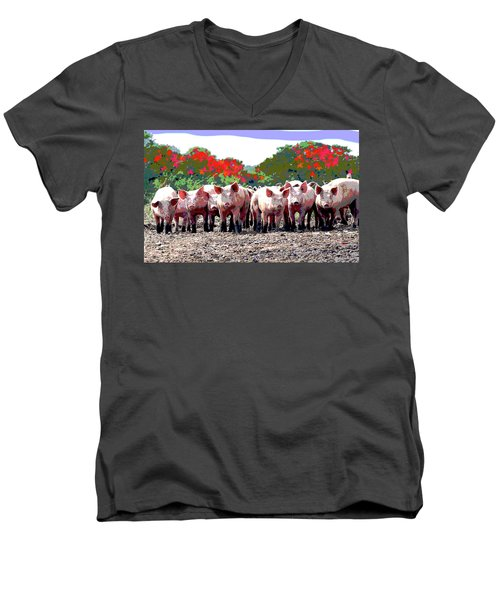 Men's V-Neck T-Shirt featuring the mixed media Off To The Market by Charles Shoup