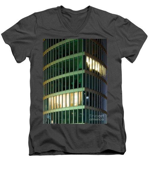 Office Building At Night Men's V-Neck T-Shirt