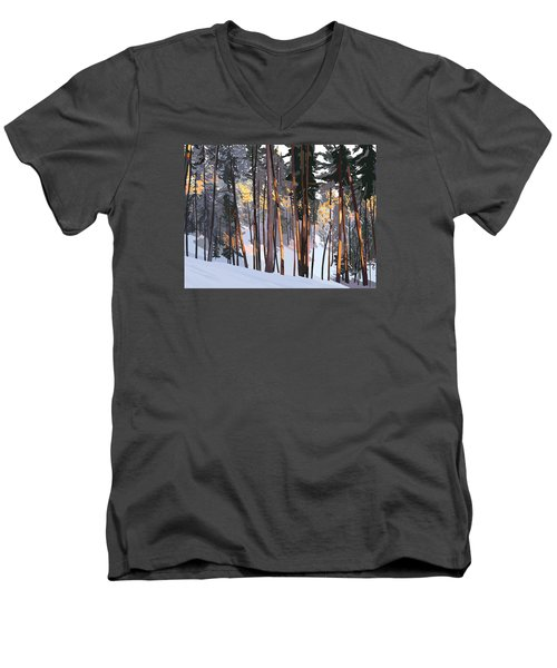 Office View Winter Alpenglow Men's V-Neck T-Shirt