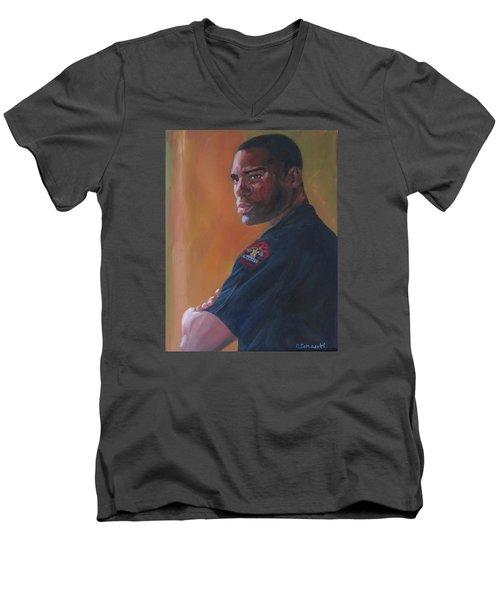 Officer Men's V-Neck T-Shirt by Connie Schaertl