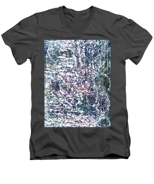 Men's V-Neck T-Shirt featuring the painting 18-offspring While I Was On The Path To Perfection 18 by Parijoy Swami Tapasyananda