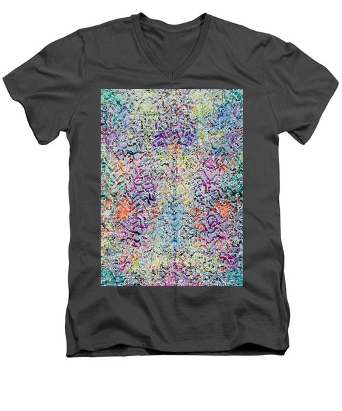 Men's V-Neck T-Shirt featuring the painting 22-offspring While I Was On The Path To Perfection 22 by Parijoy Swami Tapasyananda