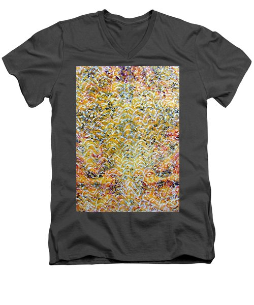 Men's V-Neck T-Shirt featuring the painting 26-offspring While I Was On The Path To Perfection 26 by Parijoy Swami Tapasyananda