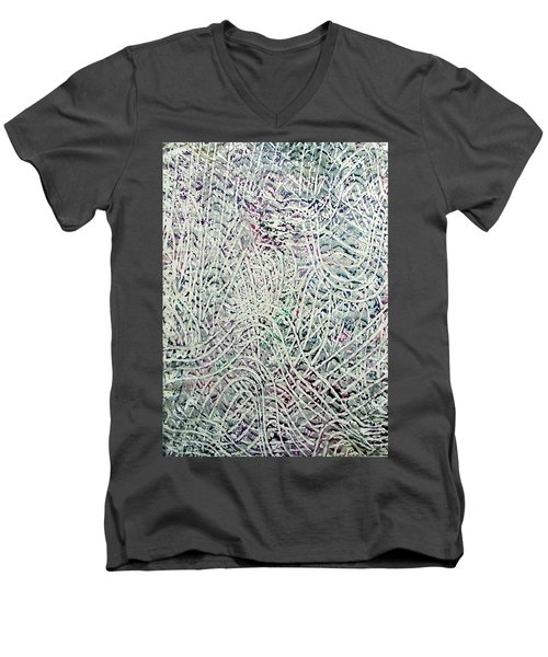 Men's V-Neck T-Shirt featuring the painting 28-offspring While I Was On The Path To Perfection 28 by Parijoy Swami Tapasyananda