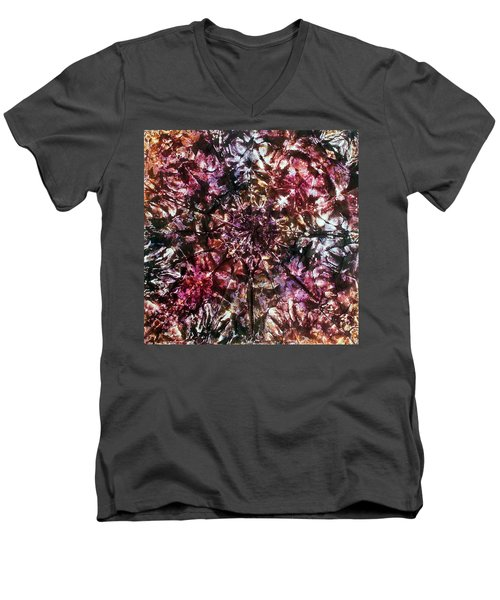 Men's V-Neck T-Shirt featuring the painting 37-offspring While I Was On The Path To Perfection 37 by Parijoy Swami Tapasyananda