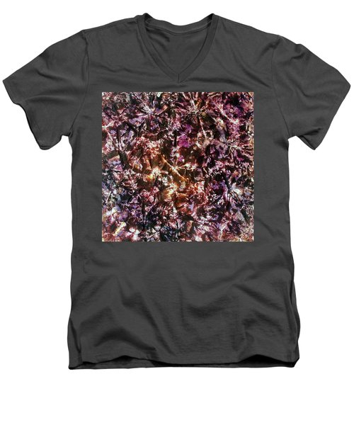 Men's V-Neck T-Shirt featuring the painting 42-offspring While I Was On The Path To Perfection 42 by Parijoy Swami Tapasyananda