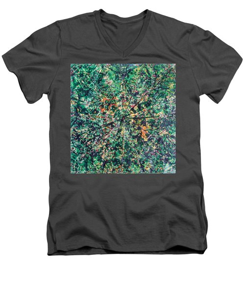 Men's V-Neck T-Shirt featuring the painting 43-offspring While I Was On The Path To Perfection 43 by Parijoy Swami Tapasyananda