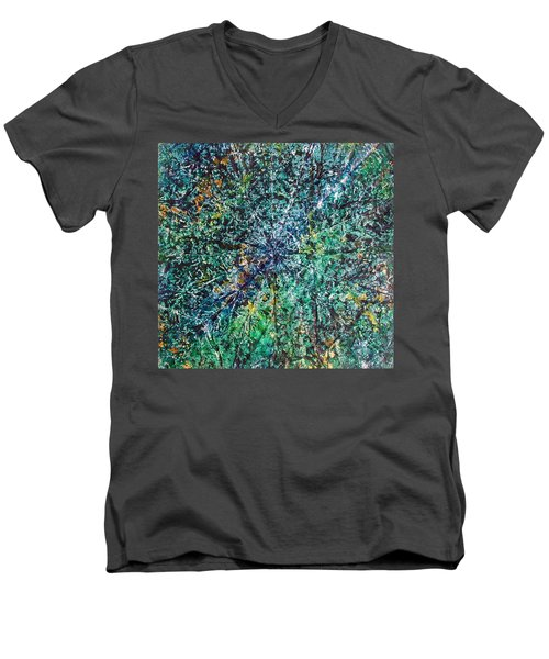 Men's V-Neck T-Shirt featuring the painting 47-offspring While I Was On The Path To Perfection 47 by Parijoy Swami Tapasyananda