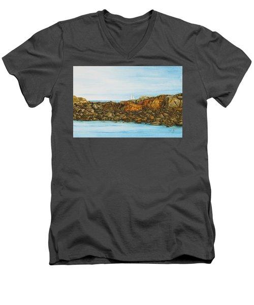 Ogunquit Maine Sail And Rocks Men's V-Neck T-Shirt
