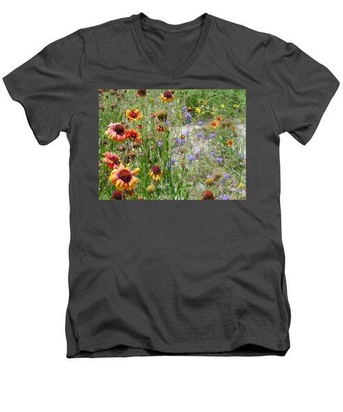 Oh Hi Orange Red Purple Flowers Men's V-Neck T-Shirt
