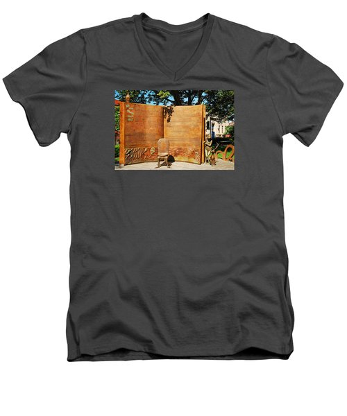 Oh The Places Youll Go Dr Seuss Memorial Garden Men's V-Neck T-Shirt by James Kirkikis