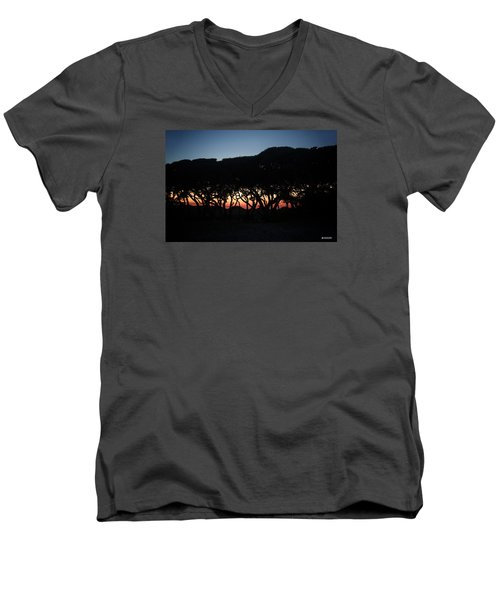 Men's V-Neck T-Shirt featuring the digital art Oh Those Trees by Phil Mancuso