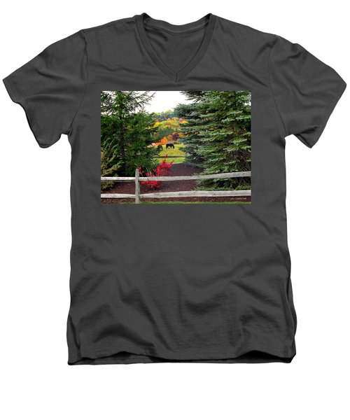 Men's V-Neck T-Shirt featuring the photograph Ohio Farm In Autumn by Joan  Minchak
