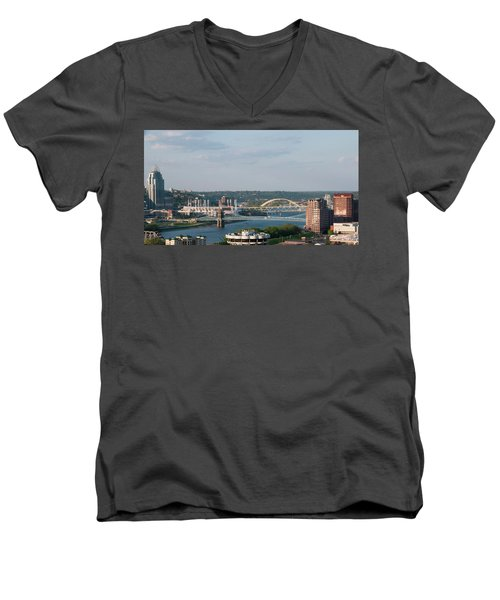 Ohio River's Suspension Bridge Men's V-Neck T-Shirt