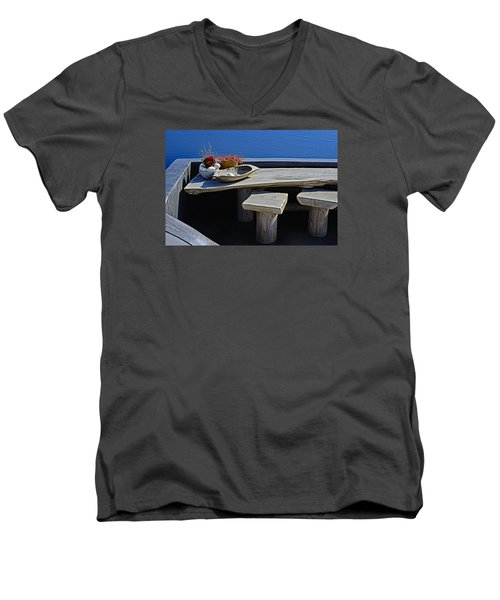 Oia Still Life On The Greek Island Of Thira Men's V-Neck T-Shirt