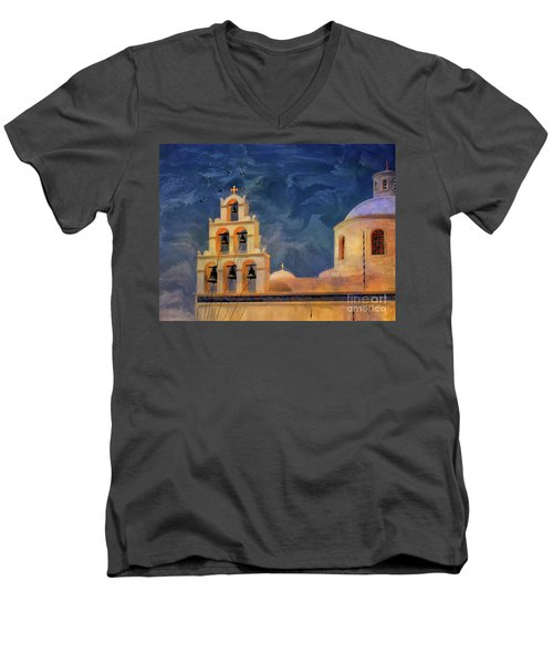 Men's V-Neck T-Shirt featuring the photograph Oia Sunset Imagined by Lois Bryan