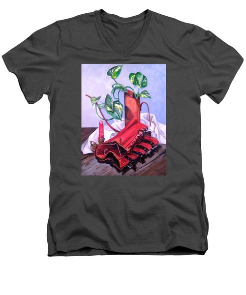 Oil Can And Corset Men's V-Neck T-Shirt by Laura Aceto