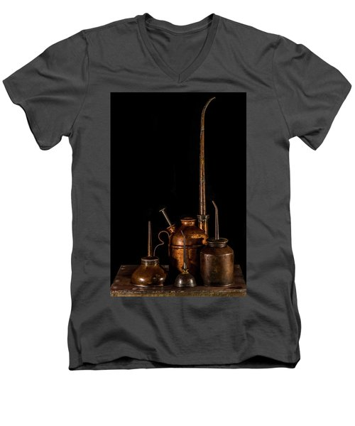Men's V-Neck T-Shirt featuring the photograph Oil Cans by Paul Freidlund