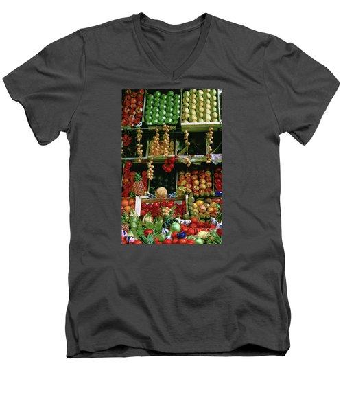 Oil Painted Faux Paris Fruit Display Men's V-Neck T-Shirt