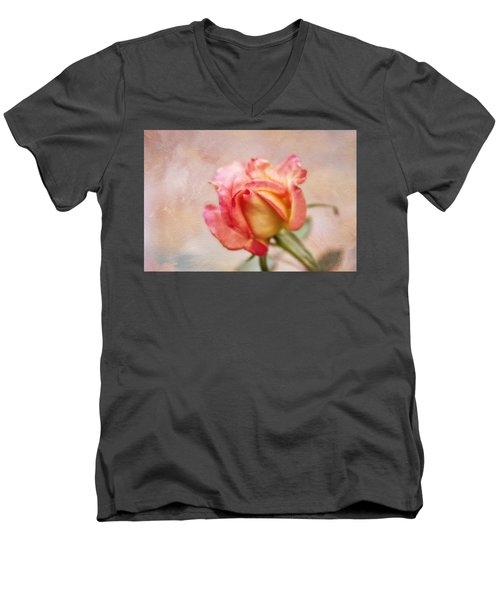 Men's V-Neck T-Shirt featuring the photograph Oil Painted Rose by Joan Bertucci