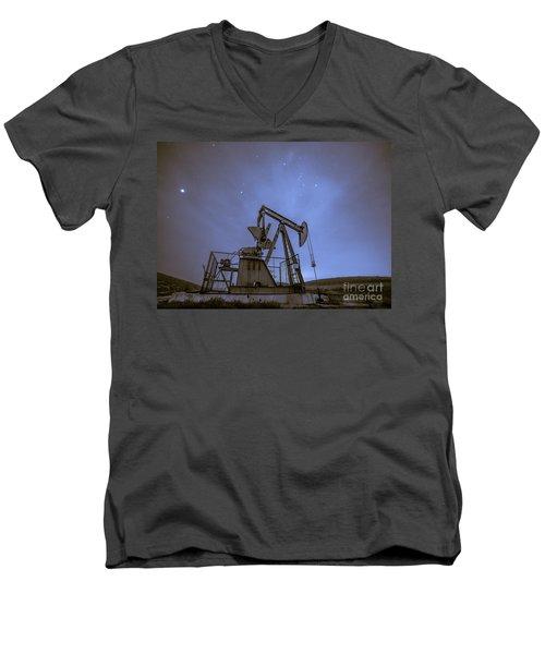 Oil Rig And Stars Men's V-Neck T-Shirt