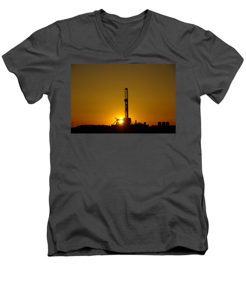 Oil Rig Near Killdeer In The Morn Men's V-Neck T-Shirt by Jeff Swan