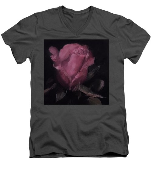 Oil Rose Painting Men's V-Neck T-Shirt