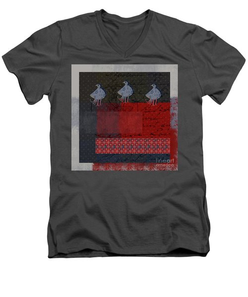 Men's V-Neck T-Shirt featuring the digital art Oiselot - S23 by Variance Collections