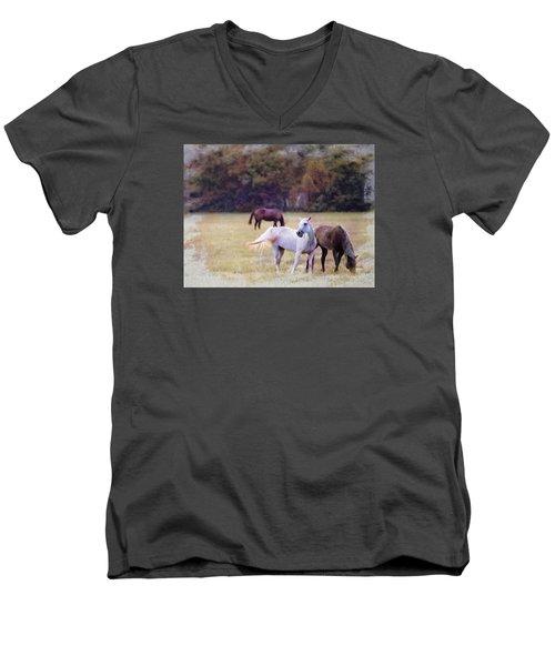 Ok Horse Ranch_1c Men's V-Neck T-Shirt