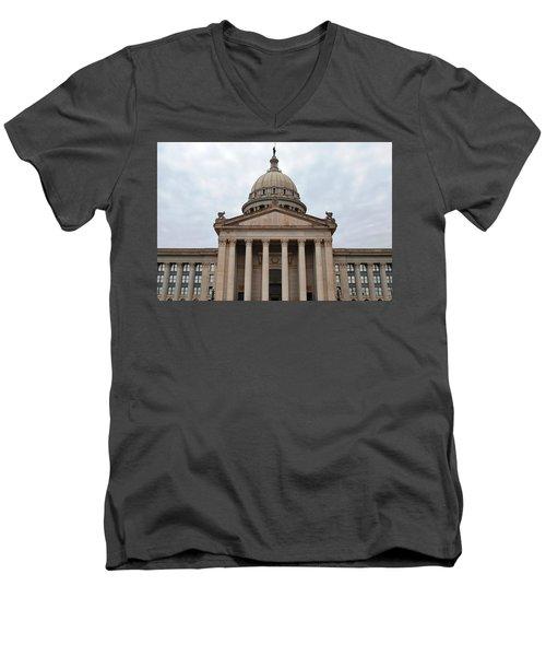 Oklahoma State Capitol - Front View Men's V-Neck T-Shirt by Matt Harang