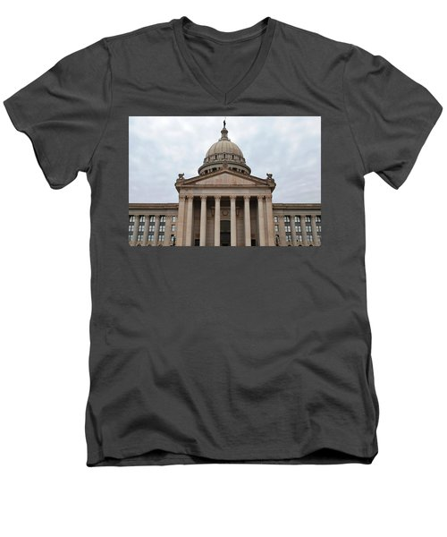 Oklahoma State Capitol - Front View Men's V-Neck T-Shirt