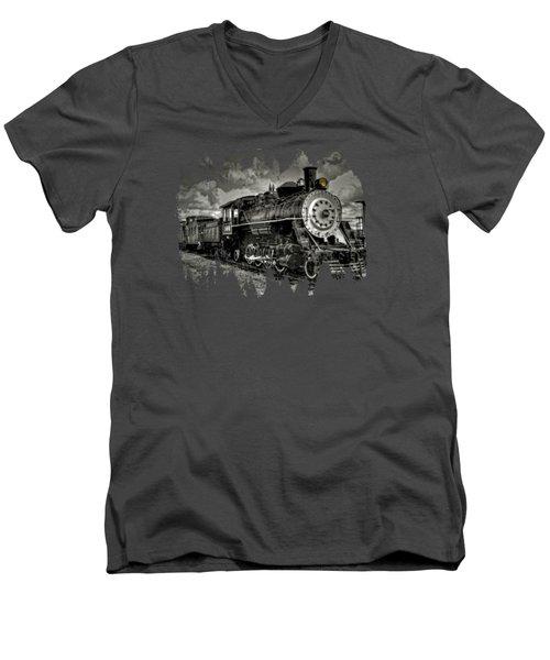 Old 104 Steam Engine Locomotive Men's V-Neck T-Shirt by Thom Zehrfeld