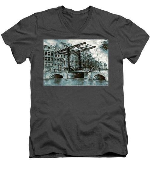 Old Amsterdam Bridge In Dutch Blue Water Colors Men's V-Neck T-Shirt