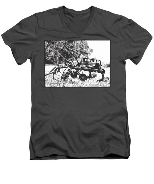 Old And Rusty In Black White Men's V-Neck T-Shirt