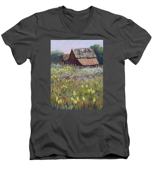 Old Barn In Spring Men's V-Neck T-Shirt by Nancy Jolley