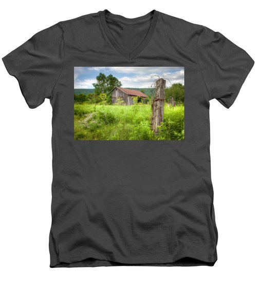 Men's V-Neck T-Shirt featuring the photograph Old Barn Near Stryker Rd. Rustic Landscape by Gary Heller