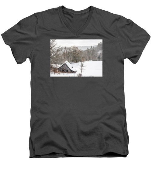 Old Barn On A Winter Day Wide View Men's V-Neck T-Shirt by Tim Kirchoff