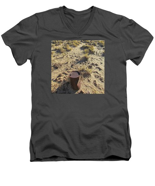 Men's V-Neck T-Shirt featuring the photograph Old Beer Can by Brenda Pressnall