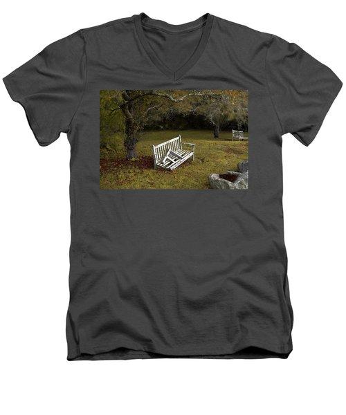 Old Benches Men's V-Neck T-Shirt by Alex Galkin