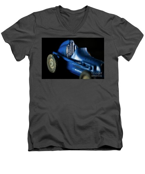 Men's V-Neck T-Shirt featuring the photograph Old Blue Toy Race Car by Wilma Birdwell
