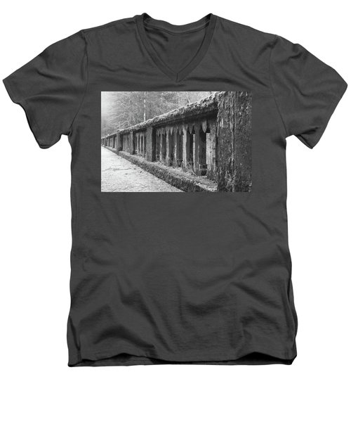 Men's V-Neck T-Shirt featuring the photograph Old Bridge In Black And White by Angi Parks