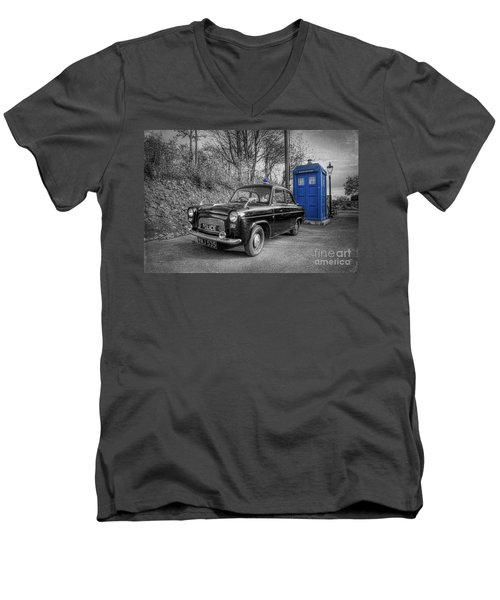 Old British Police Car And Tardis Men's V-Neck T-Shirt by Yhun Suarez