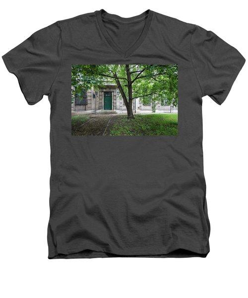 Old Building Exterior Men's V-Neck T-Shirt by Teemu Tretjakov