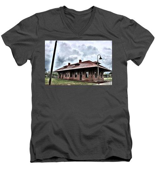 Old Burkeville Station Men's V-Neck T-Shirt