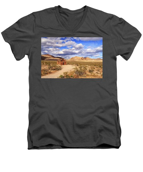 Men's V-Neck T-Shirt featuring the photograph Old Cabin At Rhyolite by James Eddy