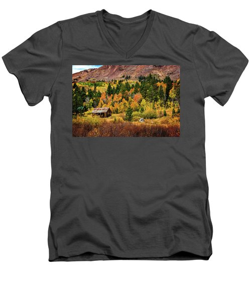 Old Cabin In Hope Valley Men's V-Neck T-Shirt