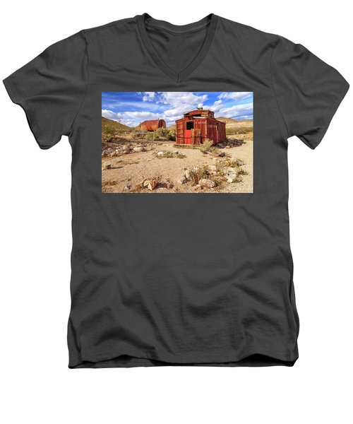 Men's V-Neck T-Shirt featuring the photograph Old Caboose At Rhyolite by James Eddy