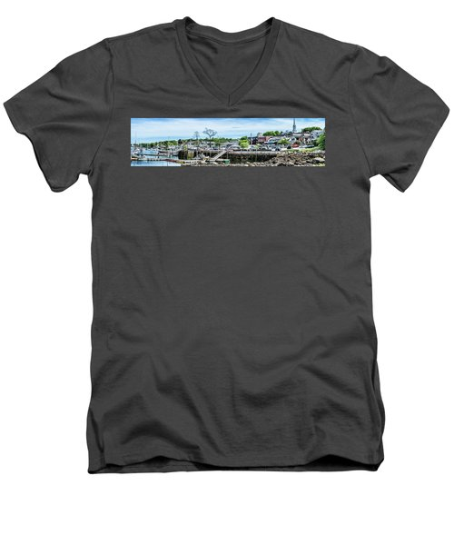 Men's V-Neck T-Shirt featuring the digital art Old Camden Harbor View by Daniel Hebard