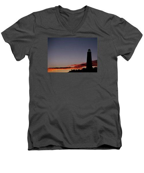 Old Cape Henry Sunrise Men's V-Neck T-Shirt by Skip Willits