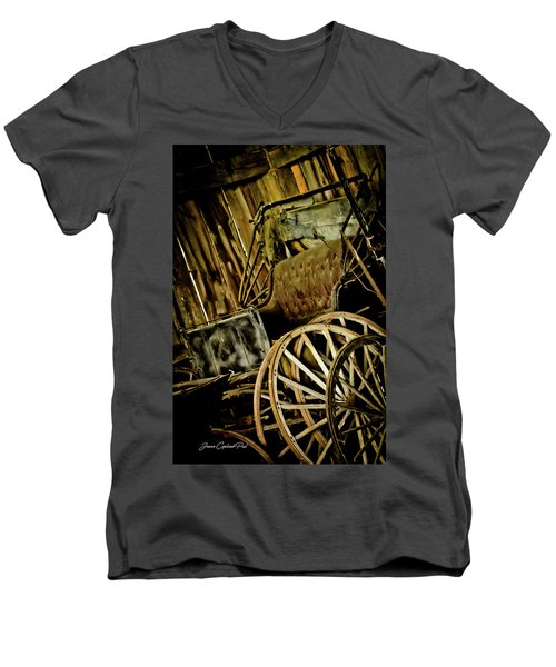 Men's V-Neck T-Shirt featuring the photograph Old Carriage by Joann Copeland-Paul